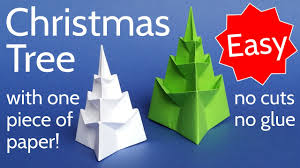 make an easy 3d origami christmas tree with 1 piece of paper