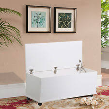 large white wooden ottoman storage chest trunk footstool lid with