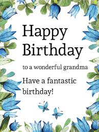 blue tulip and butterfly birthday card for grandma birthday