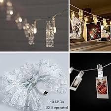 dorm room string lights 40 leds hanging string lights with photo display clips for bedroom