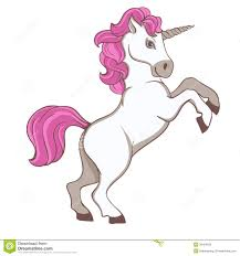 cute white unicorn with pink tail and mane royalty free stock