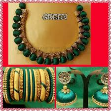 green fashion necklace images Jewellery set made of silk thread in green colour jpg