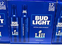 bud light aluminum bottles nfl darren rovell on twitter super bowl lii bud light cans 24 pack