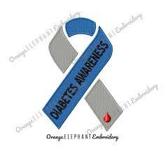 awareness ribbon diabetes unique machine embroidery design