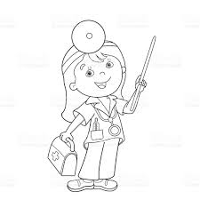 coloring page outline of cartoon doctor with first aid kit stock