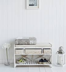 Hallway Shoe Storage Bench Cape Cod White Wash Storage Furniture Hall Shoe Bench Seat