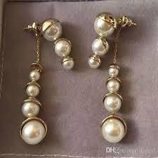 vintage earrings 2018 new design luxury gold pearl earrings sweet fashion