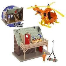 fireman sam deluxe mountain rescue helicopter u0026 lodge playset