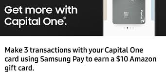 capital one gift card ymmv samsung pay use capital one card three times get 10