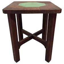 mission oak round dining table by gustav stickley at 1stdibs rare gustav stickley grueby tile top table