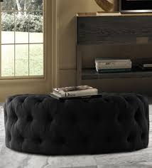 buy impeccable tufted round cocktail ottoman in black colour by