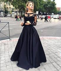 gown design black formal evening dresses sleeves lace prom dresses