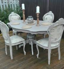 french shabby chic table and 6 louis chairs with bespoke glass