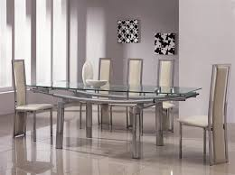 Dining Room Glass Sets For   People Rectangle With  Chairs - Black glass dining room sets