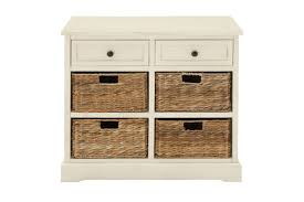 updated traditional wood cabinet with 4 wicker basket drawers in