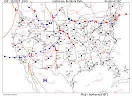 weather fronts map surface map