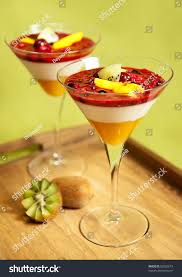 mango martini panna cotta dessert kiwi mango forest stock photo 52920673