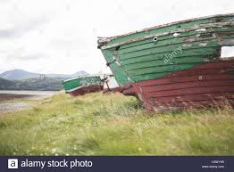 shipwrecked fishing boats at magheroarty beach county donegal