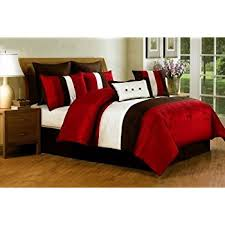 Comforter Bed In A Bag Sets Amazon Com 8 Pc Modern Red Beige Brown Bed In A Bag
