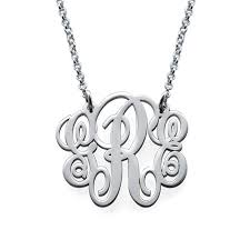 sterling silver monogram necklace pendant fancy sterling silver monogram necklace mynamenecklace