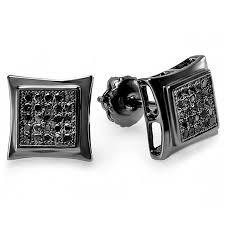 mens black diamond earrings 0 15 carat ctw sterling silver black real diamond