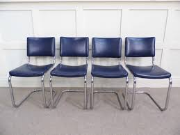 Blue Leather Dining Chairs by Chrome Vintage Bauhaus Pel Dining Chairs 1930s In Blue Leather