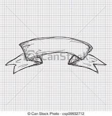 vector clip art of doodle sketch of a banner on graph paper