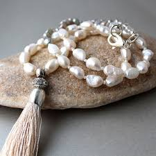 long silver pearl necklace images Gorgeous long boho freshwater pearl necklace with luxurious silky jpg