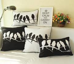 modern minimalism black and white cushion cover bird birds sketch