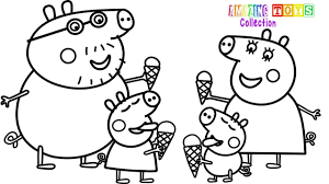 how to draw peppa pig family ice cream coloring pages youtube