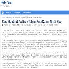 cara membuat blog tulisan note sun cara membuat posting tulisan rata kanan kiri di blog