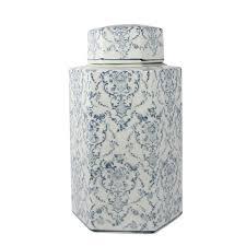vase tse tse vaso potiche lao tse sextavado branco e azul pequeno 32x19cm
