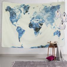 watercolor world map wall tapestry wall hanging living room