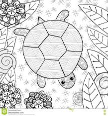 cute turtle in garden coloring book page stock vector