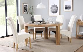Brighton Round Oak Dining Table And  Chairs Set Richmond Cream - Cream kitchen table