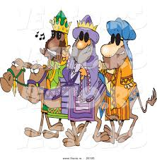 cartoon vector of a 3 wise men wearing shades and riding camels by