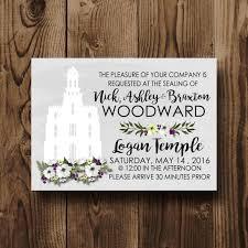 lds wedding invitations lds family sealing invitation lds wedding invite temple