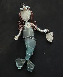 aqua blue sea glass mermaid ornament or suncatcher by oceansbounty