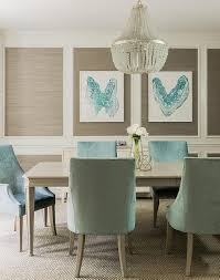 Taupe And Turquoise Blue Dining Room Features Stacked Decorative - Teal dining room