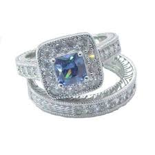 silver wedding ring sets for him and his hers wedding ring set sapphire blue cz sterling silver