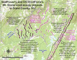 Wv Map Windaction Nedpower And Us Windforce Mount Storm Wv Windplants