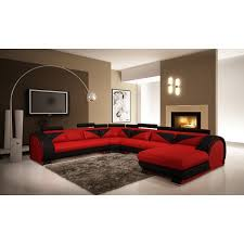 vig red u0026 black leather sectional sofa with headrests vgev7395 5