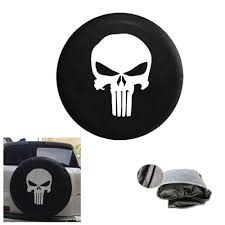jeep amc logo 1pcs black spare tire cover with punisher skull logo for jeep