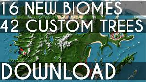 World Map Biomes by Minecraft Map 16 New Biomes 42 Custom Trees Mya Island Youtube