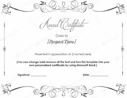 templates for award certificate printable document templates