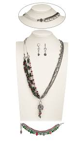 jewelry design multi strand necklace bracelet and earring set