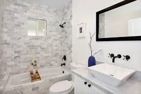 gray subway tile bathroom bathroom contemporary with bathtub