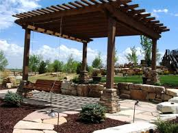 landscaping patio patio pergola swing fire pit with swings