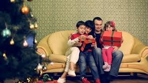 a family celebrating or new year winter holidays stock