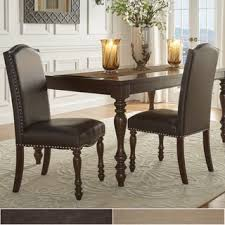 Classic Dining Chairs Lasalle Espresso Nail Head Accent Transitional Dining Side Chairs